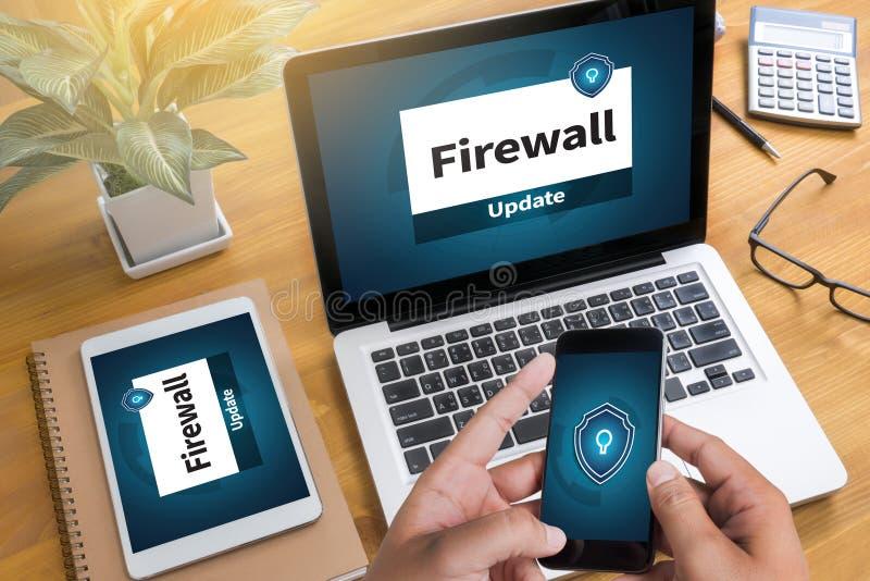 Firewallantivirus Waakzame Beschermingsveiligheid en Cyber-Veiligheid royalty-vrije stock afbeelding