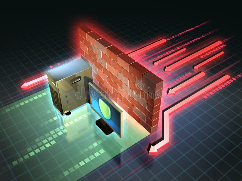 Firewallattack vektor illustrationer