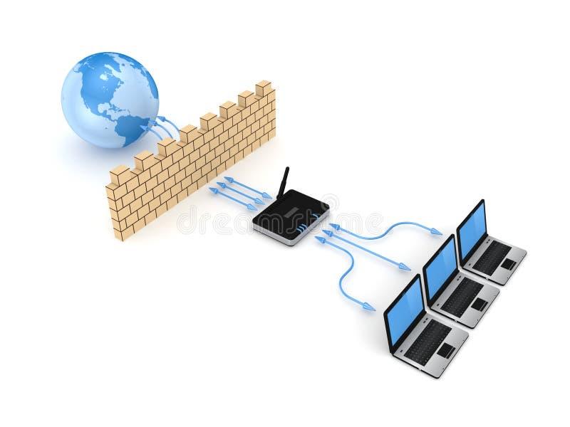 Firewallbegrepp. stock illustrationer