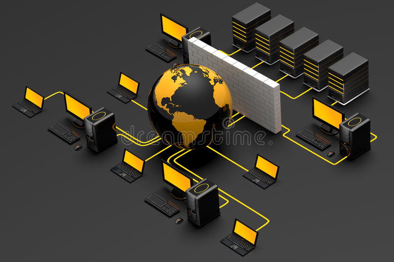 firewallnätverk vektor illustrationer