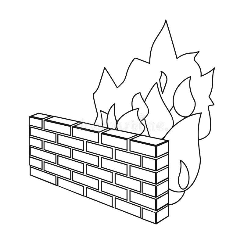 Firewallpictogram in overzichtsstijl op witte achtergrond wordt geïsoleerd die Hakkers en het binnendringen in een beveiligd comp stock illustratie