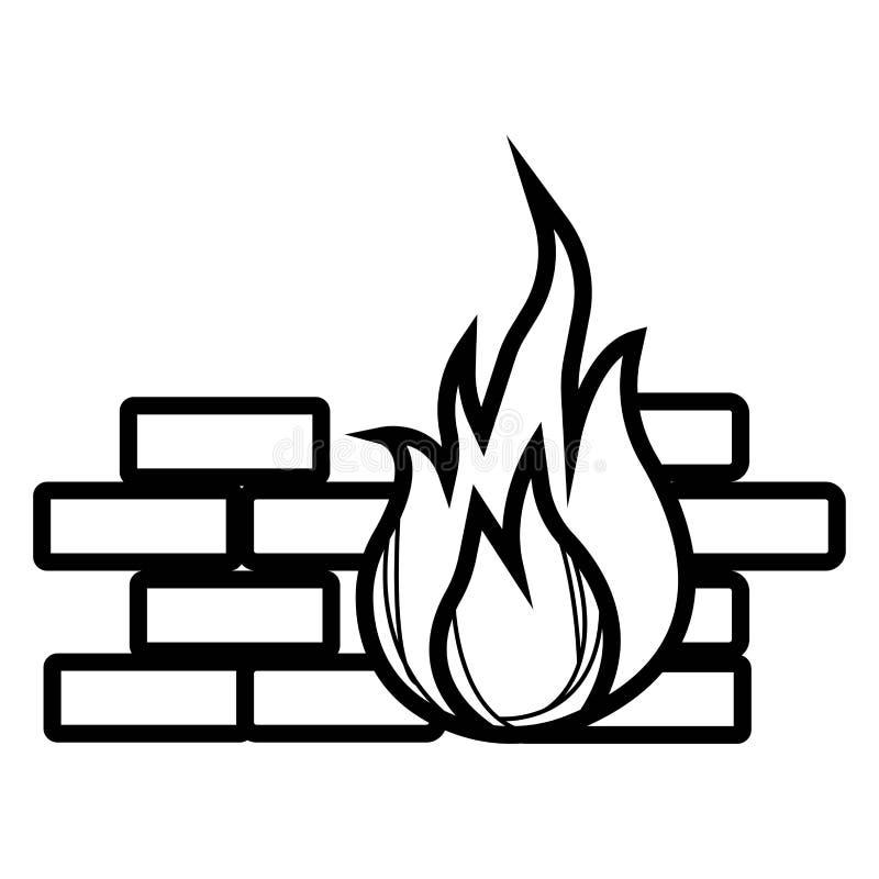 Firewallsymbolsvektor royaltyfri illustrationer