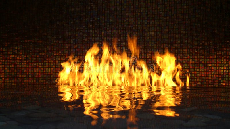 Firewater. Fire on water with reflection. Slow shutter speed stock photos