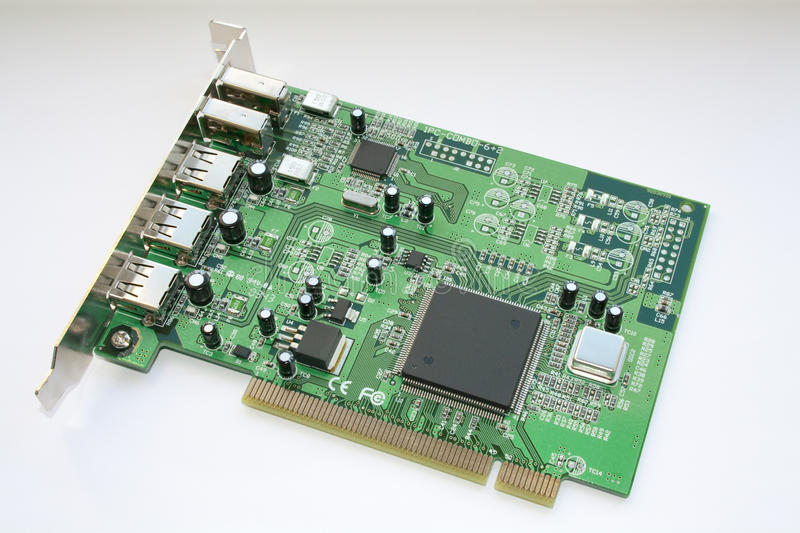 Firewire/USB PCI board stock photos
