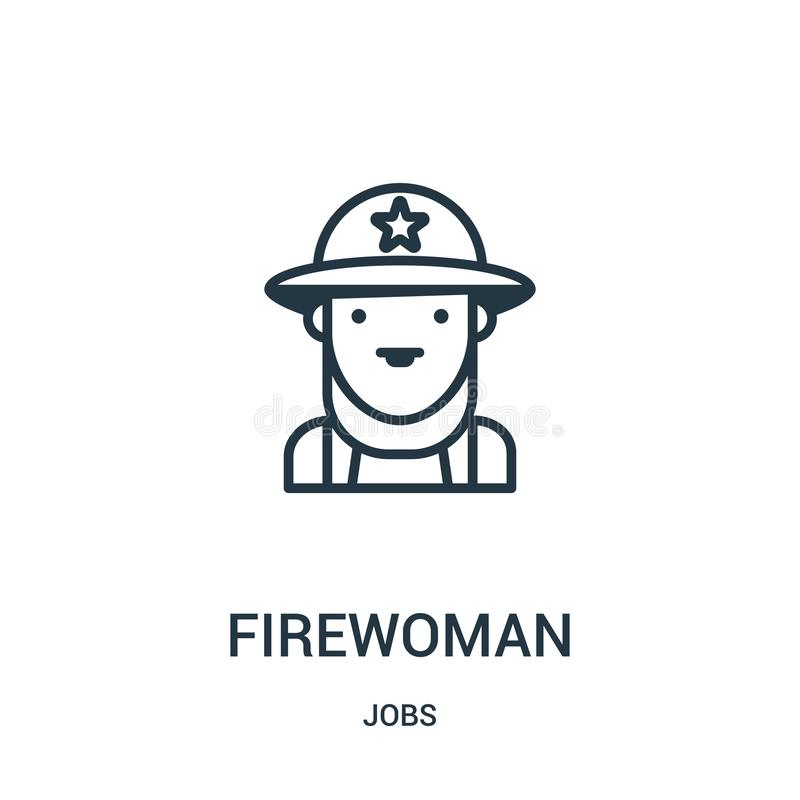 firewoman icon vector from jobs collection. Thin line firewoman outline icon vector illustration. Linear symbol stock illustration