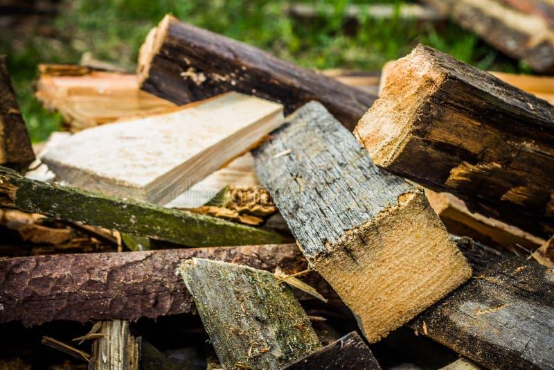 Firewood. Ax Firewood Heap Pile Grinding Cut Wood Timber Wood Wood Brown Village stock image