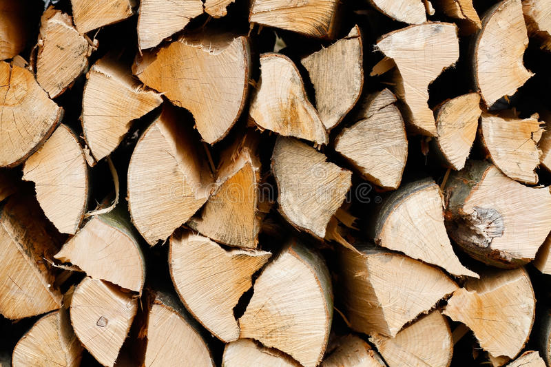 Firewood. The big stack of firewood stock photo