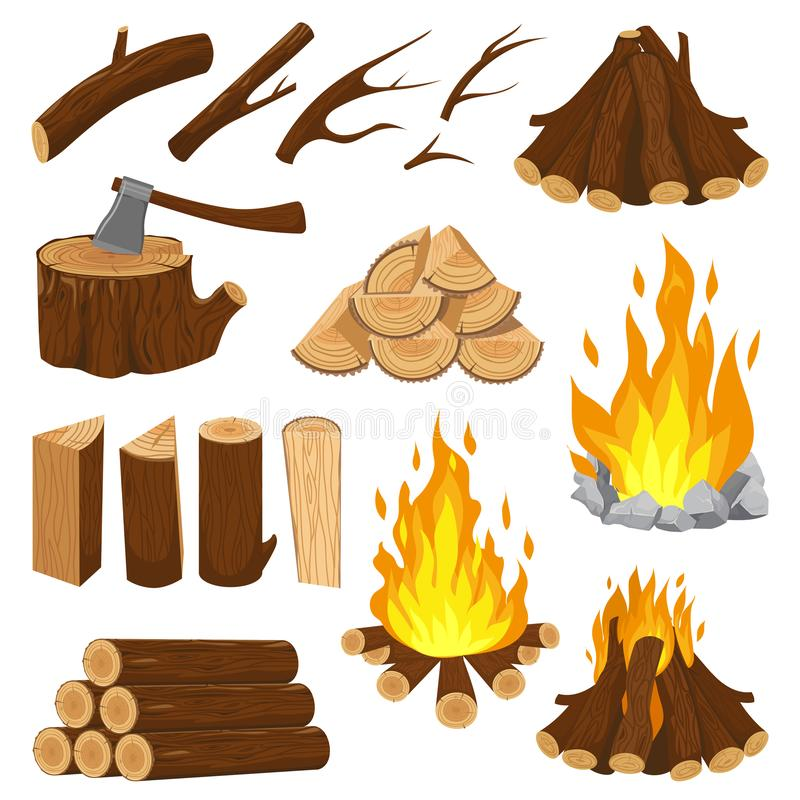 Free Firewood Boards. Fireplace Fire Wood, Burning Wooden Stack And Blazing Bonfire. Campfire Logging Pile Cartoon Vector Stock Photography - 141652482