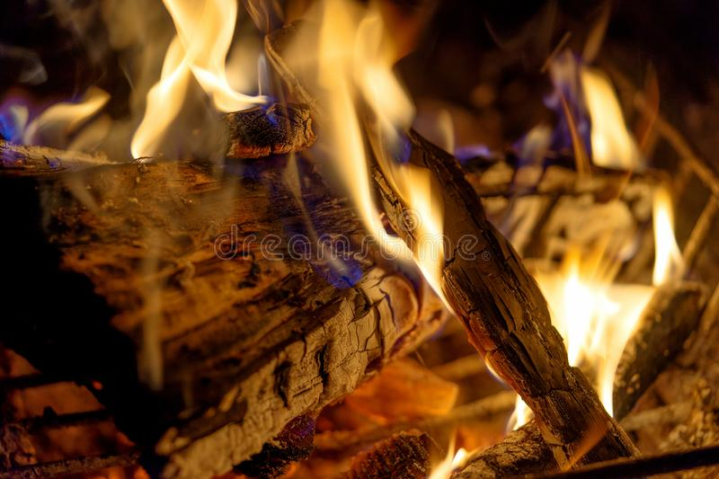 Firewood bonfire is blazing. Burning wood campfire in the night darkness stock images
