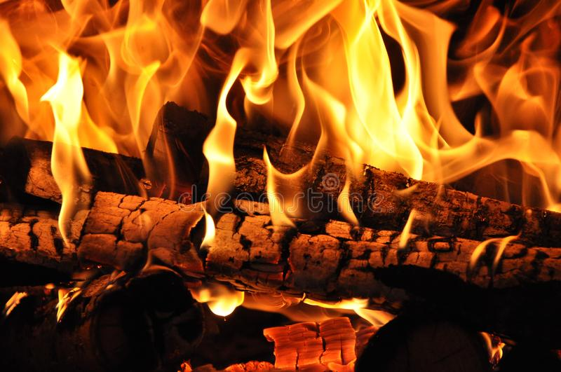 Firewood burned in the fire stock photography