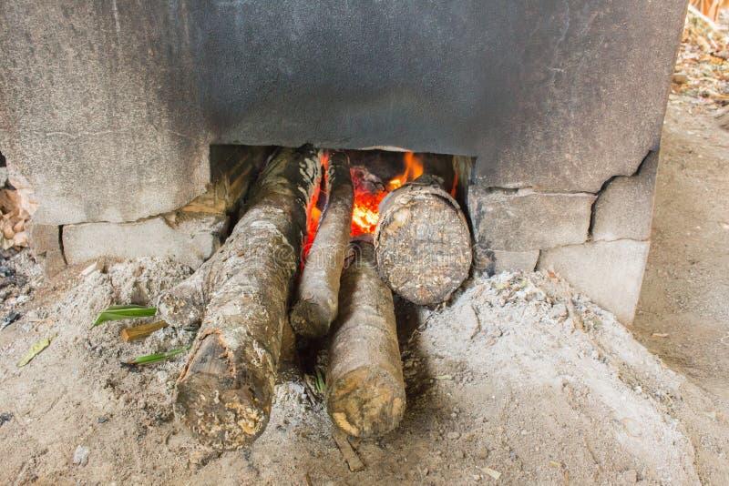 Firewood burns,Pizzas baking in an open firewood oven,fire burning in the wood oven. stock image
