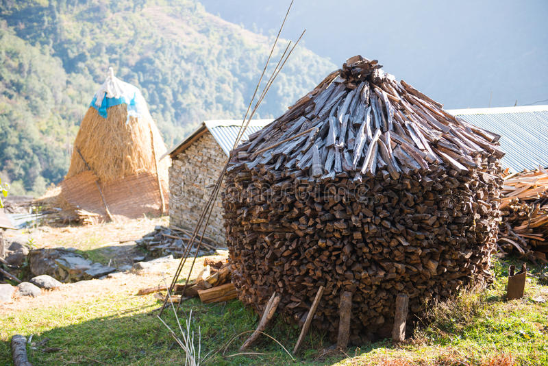 Firewood after finish hew raw material for fuel. Burn stock photography