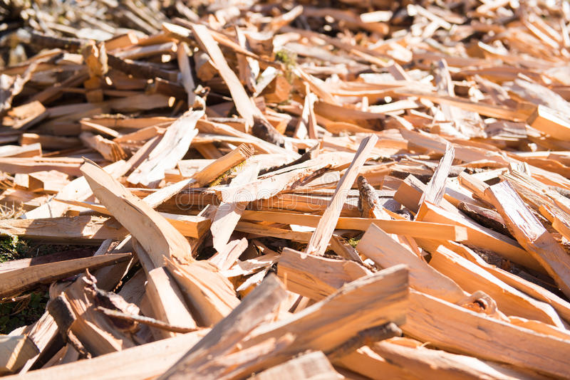 Firewood after finish hew raw material for fuel. Burn royalty free stock image