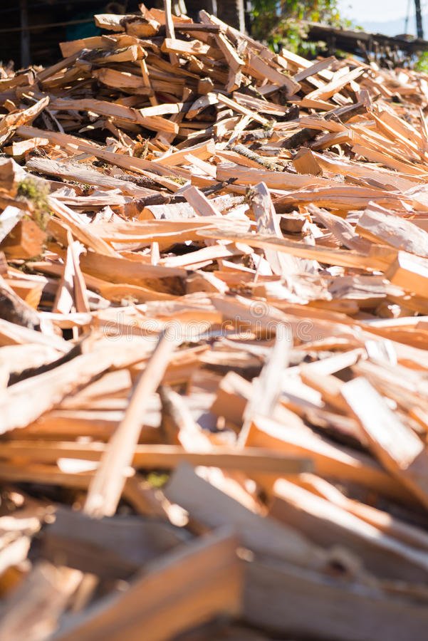 Firewood after finish hew raw material for fuel. Burn stock photo