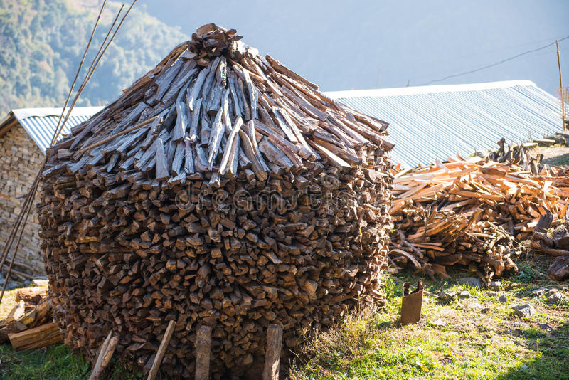 Firewood after finish hew raw material for fuel. Burn royalty free stock photos