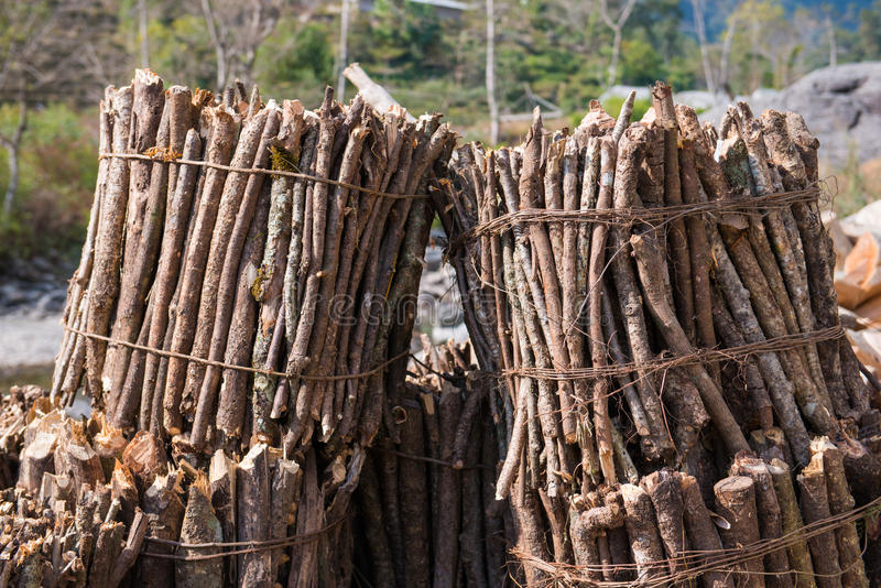 Firewood after finish hew raw material for fuel. Burn royalty free stock photography