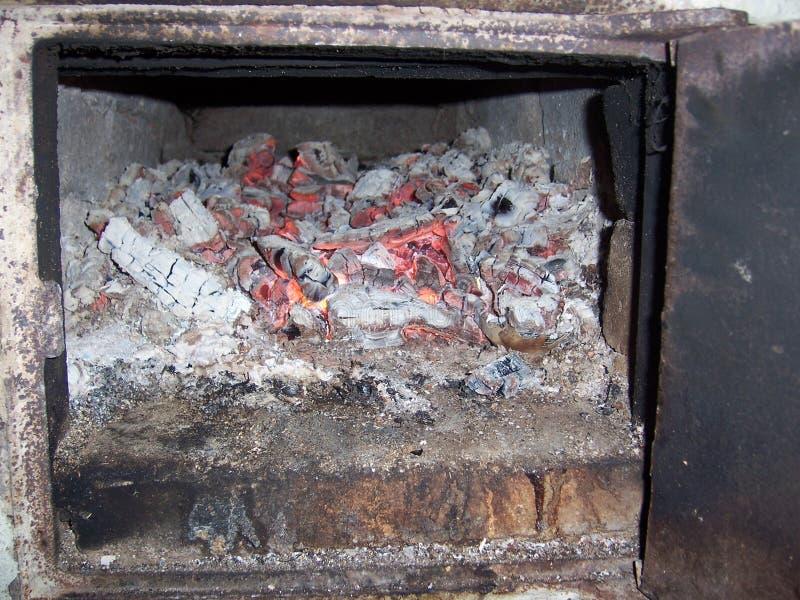 firewood in firebox royalty free stock photos