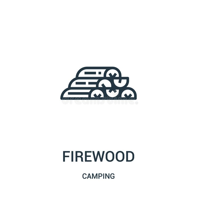 firewood icon vector from camping collection. Thin line firewood outline icon vector illustration. Linear symbol vector illustration