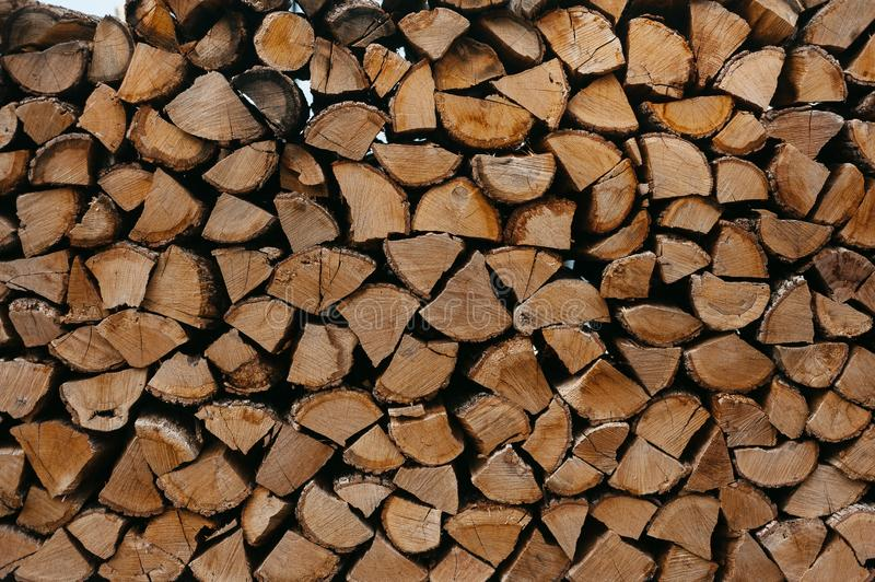 Firewood log texture. rural cozy background. Natural, organic concept stock photo