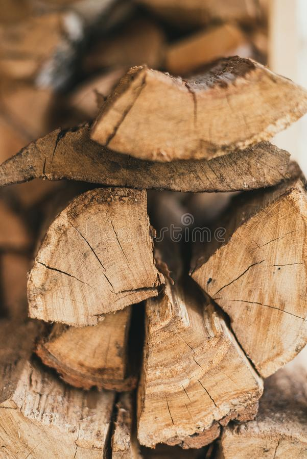 Firewood and logs for burning. Wood logs lie on each other royalty free stock images