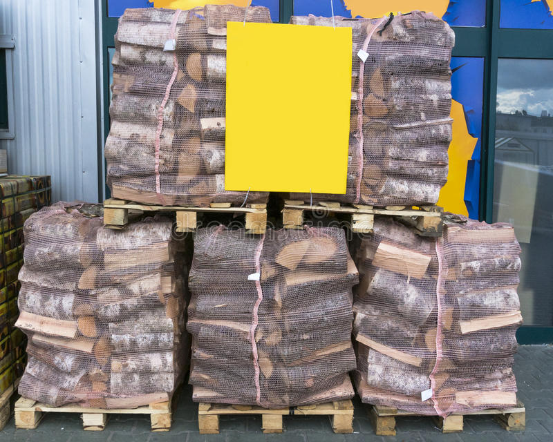 Firewood for sale royalty free stock photography
