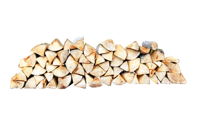 Firewood stack against a white background. Firewood pile in front of a white background made of beech wood sheaths royalty free stock photography