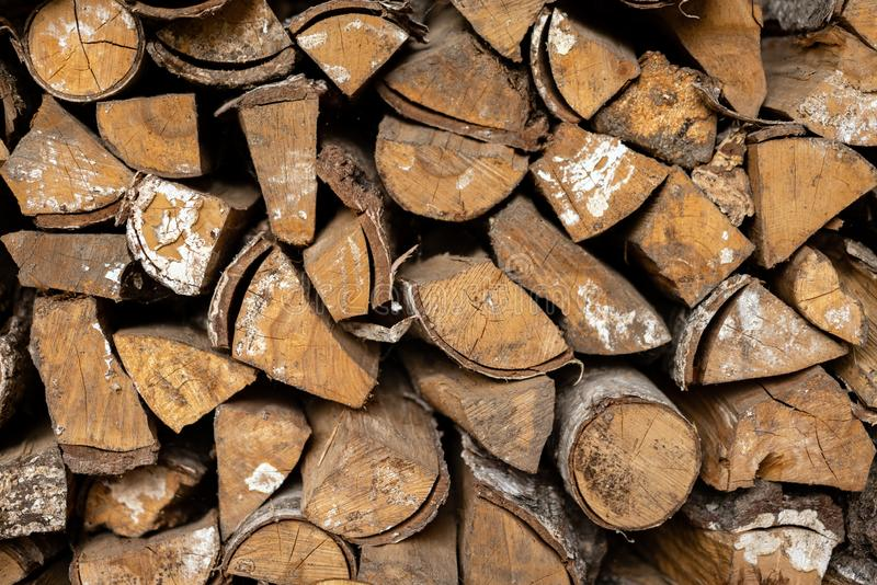 Firewood in a stack. royalty free stock photography