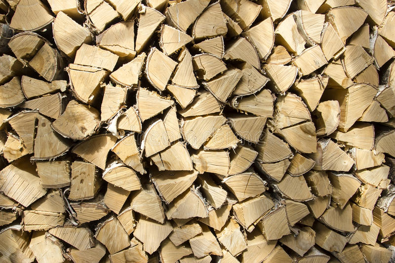 Firewood are stacked neatly stock photography