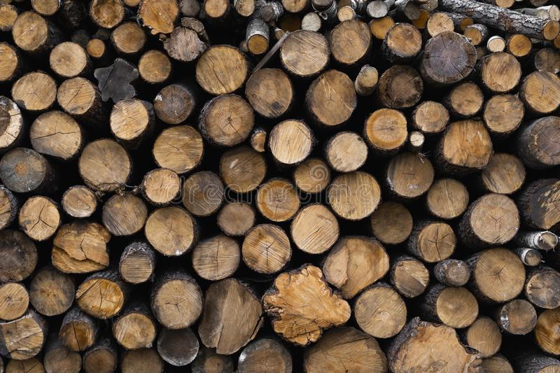 Firewood stacked and prepared for winter Pile of wood logs. Pile of wood logs ready for winter. Wood texture background royalty free stock photo