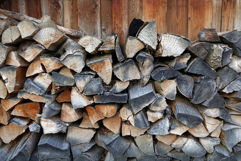 Firewood stock for winter wood fuel in stack stock photo