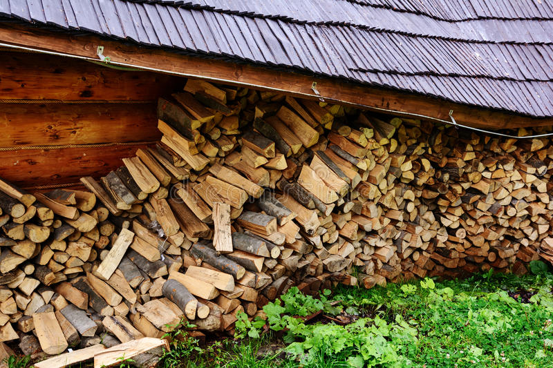 Firewood. Store firewood. royalty free stock photography