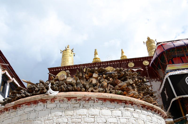 The firewood of Tibetan Buddhism temples royalty free stock photography