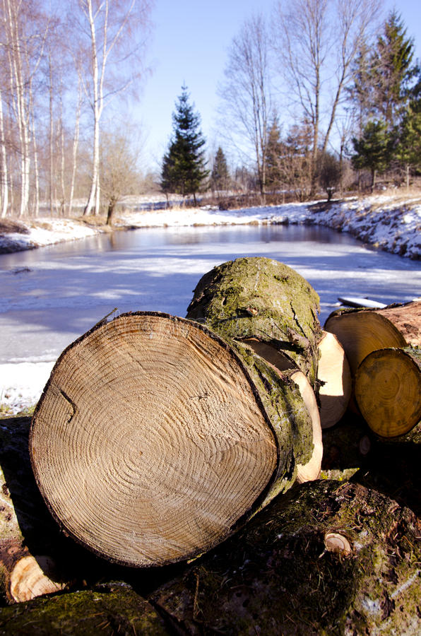 Download Firewood In The Winter Farm Stock Photo - Image: 24363874