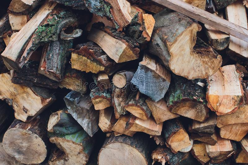 Firewood for the winter, stacks of firewood, pile of firewood. royalty free stock photography