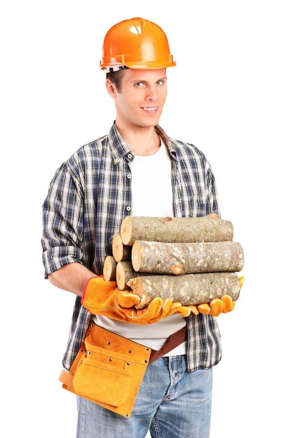 firewoods держа lumberjack молодым стоковые изображения rf