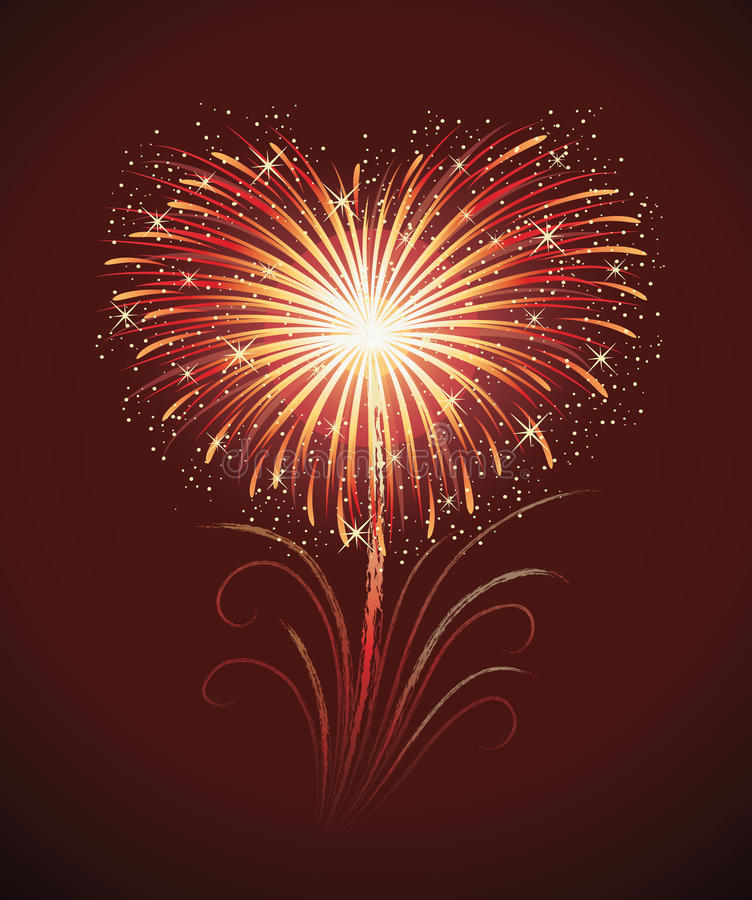 Firework. Firework in a shape of heart on the red background royalty free illustration