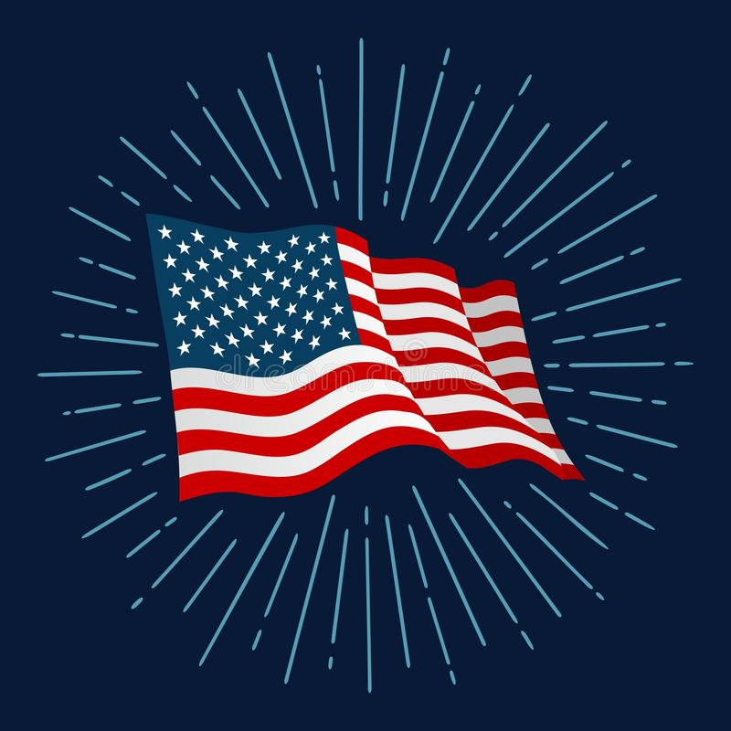 Firework and american flag for banner independence day. Firework and american flag. Vector color illustration for poster, greeting card and banner independence vector illustration