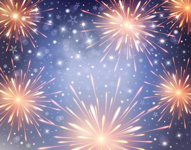 Firework background for celebration and Happy New Year, blue sky with stars royalty free stock photography