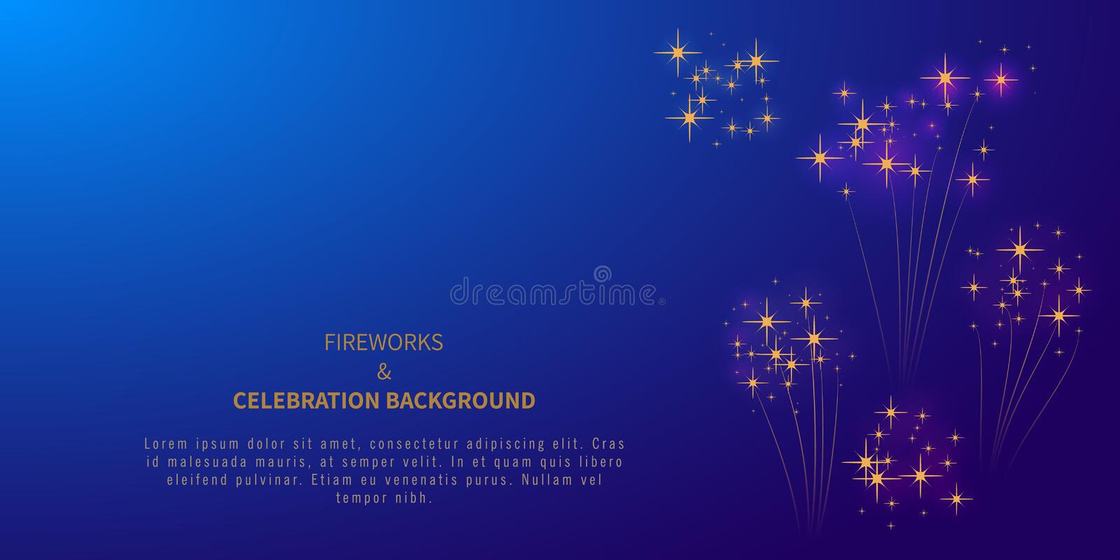 Firework background with stars or confetti and place for text. 4th of july. Independence day. Happy New year or Merry Christmas. Carnival. Banner, poster royalty free illustration