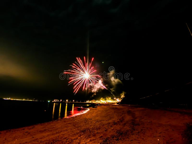 Firework at the beach in Pattaya city Thailand. In period of new year cerebration royalty free stock photography