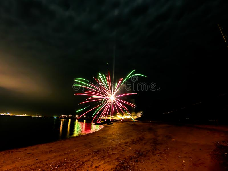 Firework at the beach in Pattaya city Thailand. In period of new year cerebration royalty free stock photo