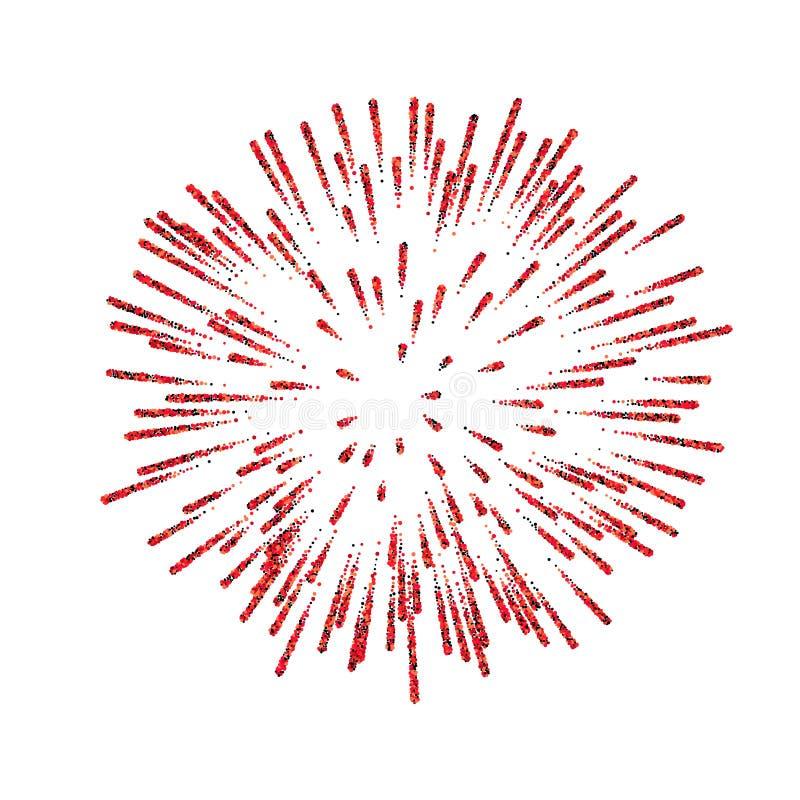 firework Bello saluto rosso su fondo bianco Decorazione luminosa del fuoco d'artificio per la cartolina di Natale, nuovo felice illustrazione vettoriale
