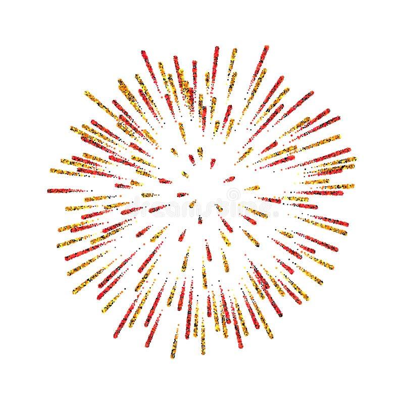 firework Bello saluto su fondo bianco Decorazione luminosa del fuoco d'artificio per la cartolina di Natale, buon anno illustrazione di stock