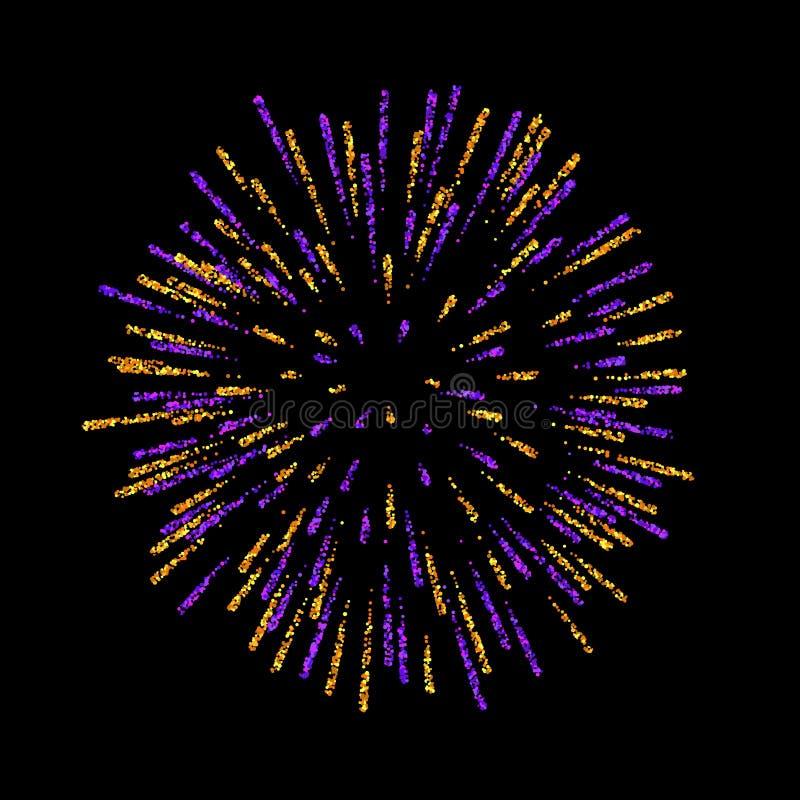 firework Bello saluto su fondo nero Decorazione luminosa del fuoco d'artificio per la cartolina di Natale, buon anno royalty illustrazione gratis