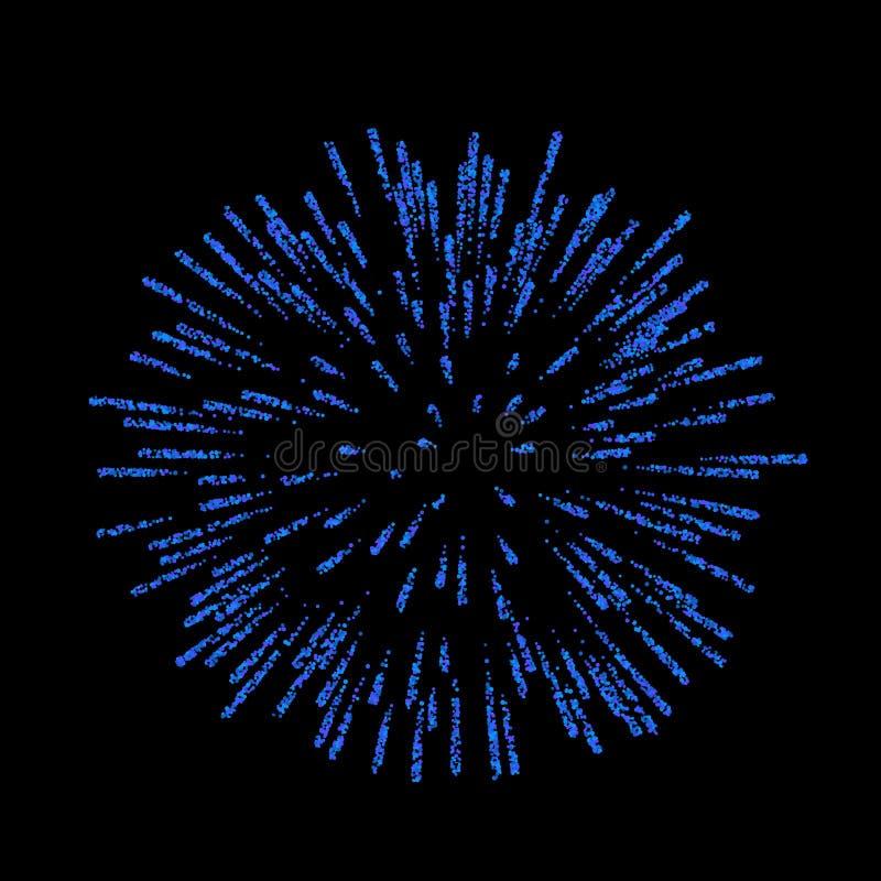 firework Bello saluto su fondo nero Decorazione luminosa del fuoco d'artificio per la cartolina di Natale, buon anno illustrazione vettoriale