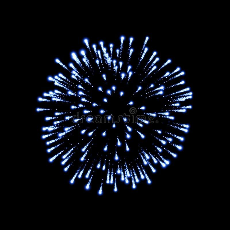 Firework blue bursting isolated black background. Beautiful night fire, explosion decoration, holiday, Christmas, New stock illustration