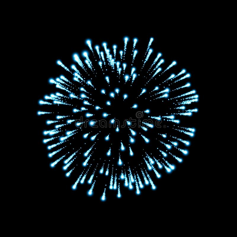Firework blue sparkle isolated background. Beautiful night fire, explosion decoration, holiday, Christmas, New Year stock illustration