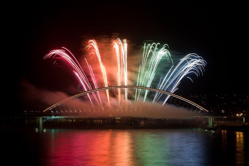 Firework on the bridge royalty free stock photos