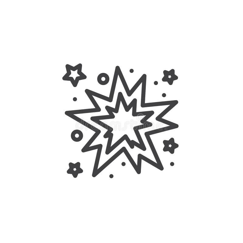 Firework bursting line icon. Salute linear style sign for mobile concept and web design. Sparkle, firework, light outline vector icon. Symbol, logo vector illustration