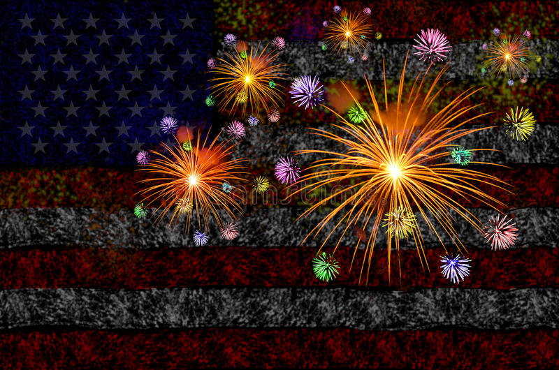 Firework celebration with American Flag Background. stock images